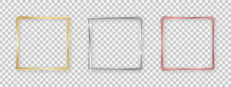 Double square shiny frames with glowing effects. Set of three gold, silver and rose gold double square frames with shadows on transparent background. Vector illustration Stockfoto - 149403011