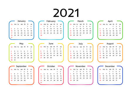 Calendar for 2021 isolated on a white background. Sunday to Monday, business template. Vector illustration Vectores
