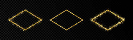Shiny frames with glowing effects. Set of three glitter gold rhombuses frames on transparent background. Vector illustration