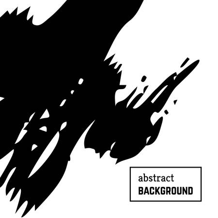 Hand drawn background with abstract brush strokes. Minimal black and white banner design. Vector illustration Vectores