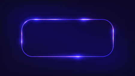 Neon rounded rectangle frame with shining effects on dark background. Empty glowing techno backdrop. Vector illustration. Vettoriali