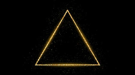 Golden triangle frame with glitter, sparkles and flares on dark background. Empty luxury backdrop. Vector illustration. Vectores