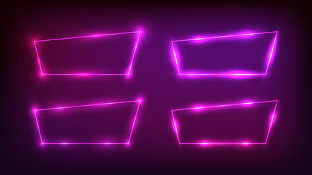 Set of four neon trapezoid frames with shining effects on dark background. Empty glowing techno backdrop. Vector illustration.