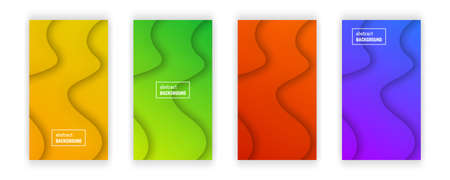 Abstract minimal wave geometric background.  Set of four wave layer shape for banner, templates, cards. Vector illustration.