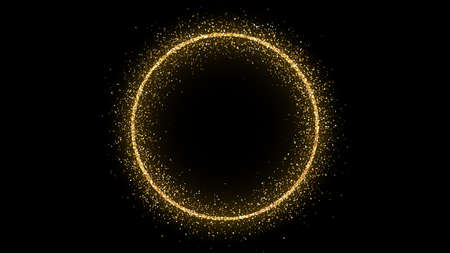 Golden circle frame with glitter, sparkles and flares on dark background. Empty luxury backdrop. Vector illustration.