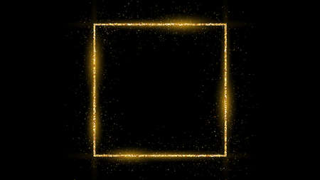Golden square frame with glitter, sparkles and flares on dark background. Empty luxury backdrop. Vector illustration. 向量圖像