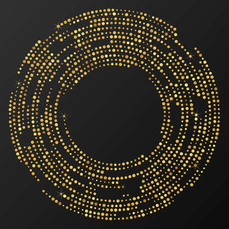 Abstract gold glowing halftone dotted background. Gold glitter pattern in circle form. Circle halftone dots. Vector illustration 向量圖像