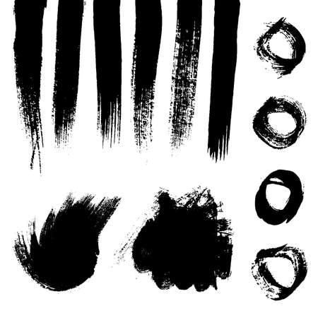 Black grunge brush strokes. Set of painted wavy ink stripes and stains. Ink spot isolated on white background. Vector illustration Stock Illustratie