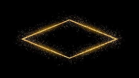 Golden rhombus frame with glitter, sparkles and flares on dark background. Empty luxury backdrop. Vector illustration. Vektorové ilustrace
