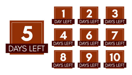 Number of days left. Set of ten brown banners with countdown from 1 to 10. Vector illustration
