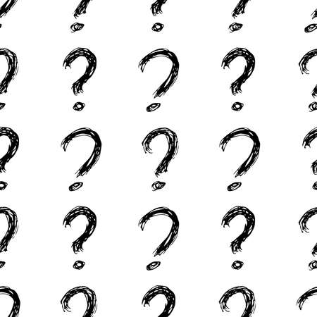 Seamless pattern with hand drawn question mark symbol. Black sketch question mark symbol on white background. Vector illustration Banque d'images - 151019990
