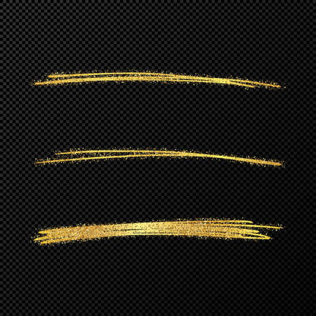 Abstract shiny confetti glittering waves. Set of three hand drawn brush golden strokes on black transparent background. Vector illustration