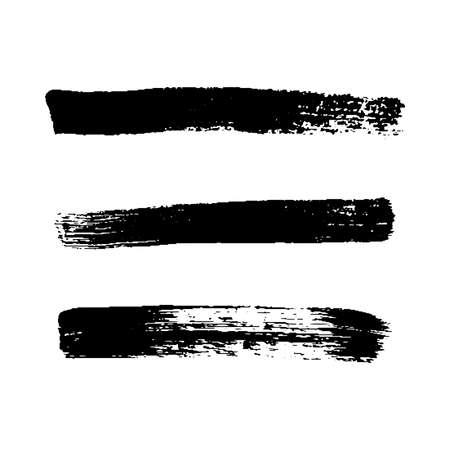 Black grunge brush strokes. Set of three painted ink stripes. Ink spot isolated on white background. Vector illustration Illusztráció