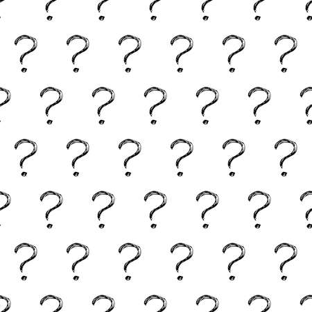 Seamless pattern with hand drawn question mark symbol. Black sketch question mark symbol on white background. Vector illustration