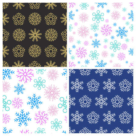 Seamless background with snowflakes. Set of four Christmas and New Year backdrops. Christmas decoration elements. Vector illustration. Illustration