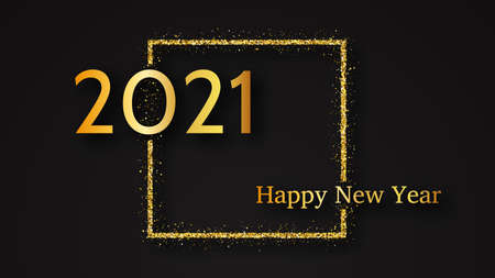 2021 Happy New Year background. Gold inscription in a gold glitter square for Christmas holiday greeting card, flyers or posters. Vector illustration