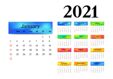Calendar for 2021 isolated on a white background. Sunday to Monday, business template. Vector illustration Vektorové ilustrace