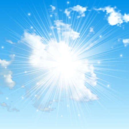 Natural background with clouds and sun on blue sky. Realistic cloud on blue backdrop. Vector illustration