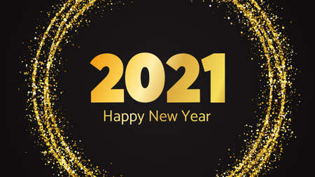 2021 Happy New Year background. Gold inscription in a gold glitter circle for Christmas holiday greeting card, flyers or posters. Vector illustration