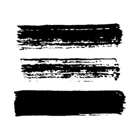 Black grunge brush strokes. Set of three painted brush ink stripes. Ink spot isolated on white background. Vector illustration Vecteurs