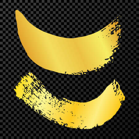 Gold grunge brush strokes. Two painted wavy ink stripes. Ink spot isolated on dark transparent background. Vector illustration 矢量图像