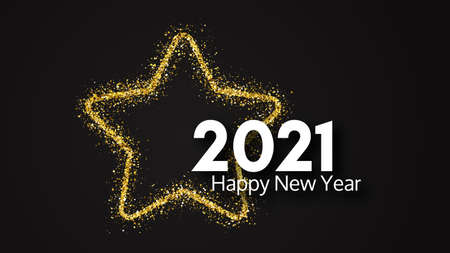 2021 Happy New Year background. White inscription in a gold glitter star for Christmas holiday greeting card, flyers or posters. Vector illustration 矢量图像