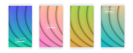 Abstract minimal line geometric background.  Set of four line layer shape for banner, templates, cards. Vector illustration.