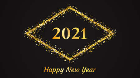 2021 Happy New Year background. Gold inscription in a gold glitter rhombus for Christmas holiday greeting card, flyers or posters. Vector illustration