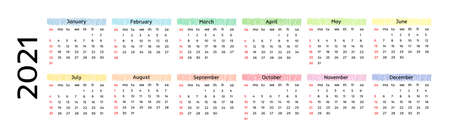 Horizontal calendar for 2021 isolated on a white background. Sunday to Monday, business template. Vector illustration