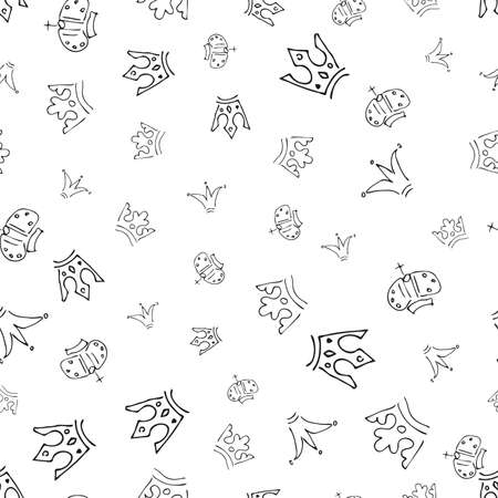 Hand drawn crowns. Seamless pattern of simple graffiti sketch queen or king crowns. Royal imperial coronation and monarch symbols. Vector illustration.