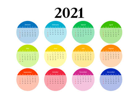 Calendar for 2021 isolated on a white background. Sunday to Monday, business template. Vector illustration Stock Illustratie