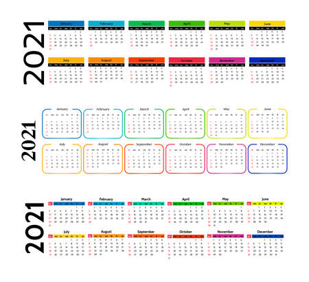 Set of three horizontal calendars for 2021 isolated on a white background. Sunday to Monday, business template. Vector illustration