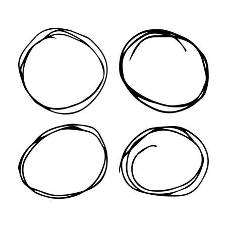 Hand drawn scribble circles.  Set of four black doodle round circular design elements on white background. Vector illustration