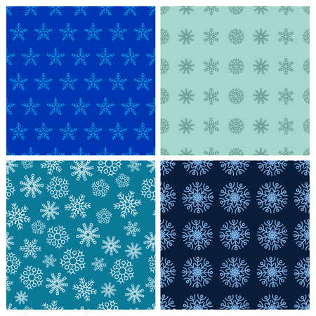 Seamless background with snowflakes. Set of four Christmas and New Year backdrops. Christmas decoration elements. Vector illustration. Stock Illustratie
