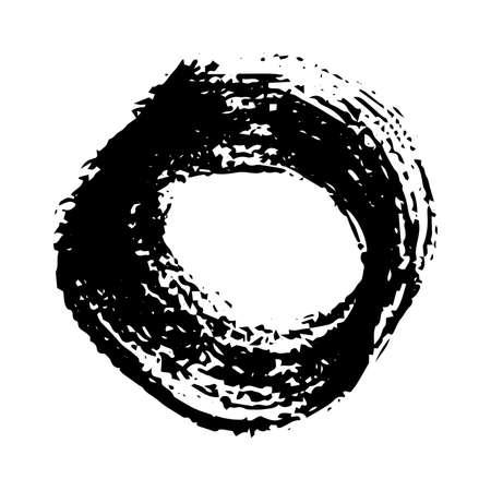 Black grunge brush strokes. Painted rounded shape. Ink circle spot isolated on white background. Vector illustration