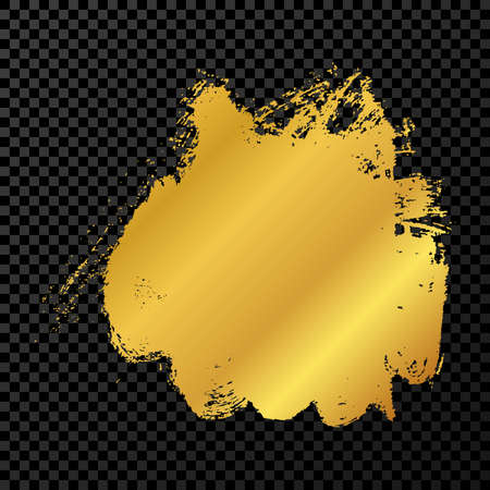 Gold grunge brush stroke. Paint brush ink stain. Ink spot isolated on dark transparent background. Vector illustration Stock Illustratie
