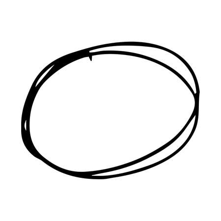 Hand drawn scribble circle.  Black doodle round circular design element on white background. Vector illustration