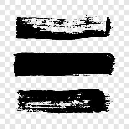 Black grunge brush strokes. Set of three painted brush ink stripes. Ink spot isolated on transparent background. Vector illustration Stock Illustratie