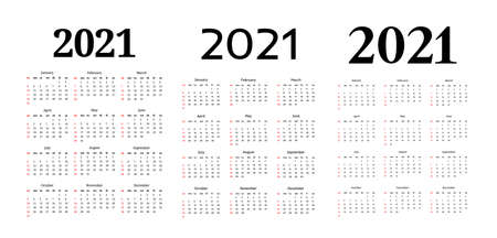 Set of three vertical calendars for 2021 isolated on a white background. Sunday to Monday, business template. Vector illustration