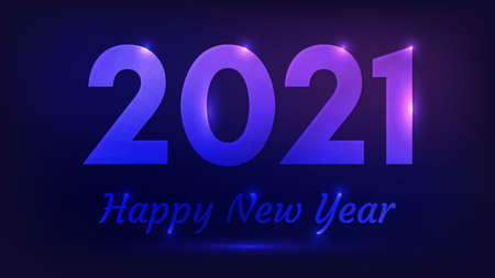 2021 Happy New Year neon background. Abstract neon backdrop with lights for Christmas holiday greeting card, flyers or posters. Vector illustration