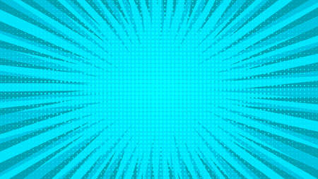 Blue comic book page background in pop art style with empty space. Template with rays, dots and halftone effect texture. Vector illustration Stock Illustratie