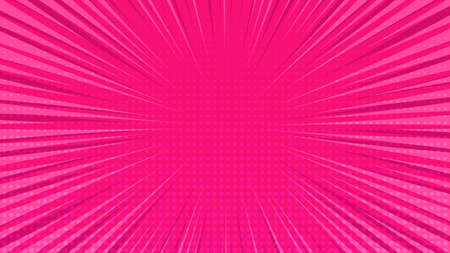Pink comic book page background in pop art style with empty space. Template with rays, dots and halftone effect texture. Vector illustration