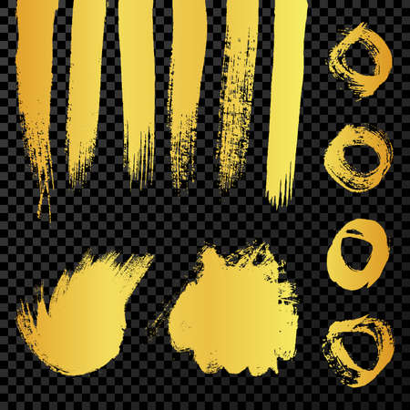 Gold grunge brush strokes. Set of painted wavy ink stripes and stains. Ink spot isolated on dark transparent background. Vector illustration