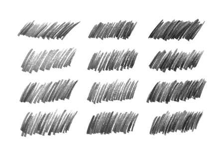 Scribble with a black marker. Set of twelve doodle style various scribbles. Black hand drawn design elements on white background. Vector illustration