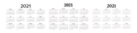 Set of three calendars for 2021 isolated on a white background. Sunday to Monday, business template. Vector illustration Ilustração