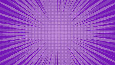 Purple comic book page background in pop art style with empty space. Template with rays, dots and halftone effect texture. Vector illustration Stock Illustratie