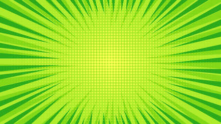 Green comic book page background in pop art style with empty space. Template with rays, dots and halftone effect texture. Vector illustration