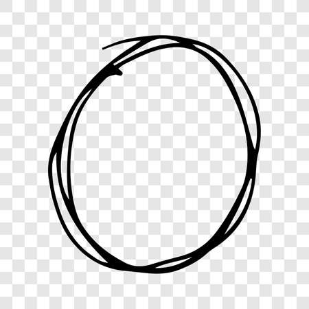 Hand drawn scribble circle.  Black doodle round circular design element on transparent background. Vector illustration Stock Illustratie