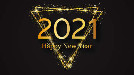 2021 Happy New Year background. Gold inscription in a gold glitter triangle for Christmas holiday greeting card, flyers or posters. Vector illustration Stock Illustratie