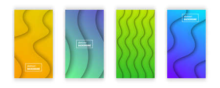 Abstract minimal gradient geometric background.  Set of four wave layer shape for banner, templates, cards. Vector illustration.